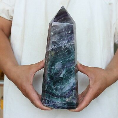 "7.4LB 10.4"" Natural Rainbow Fluorite Quartz Crystal Point Tower Polished Healing"
