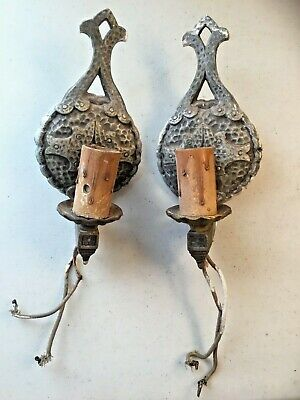 Sconces Pair Of Ornate Cast Electric Wall Fixture Antique Vintage Castle Look