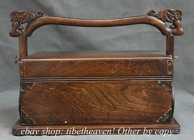 """15"""" Old China Huanghuali Wood Carved Food Box Drawer Cabinet Container Food Box"""
