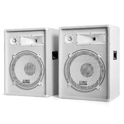 PACK SONO LUIDSPREKERSET 2x ENCEINTE PA BLANCHES SUBWOOFER HP 38CM DESIGN 1600W