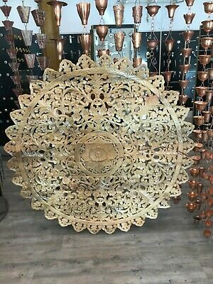 Round Mango Wood Carving Wall Décor