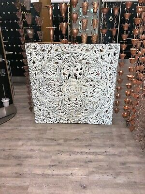 Carved Wooden Wall Panel Distressed White Wall Art Decor Hanging Panel