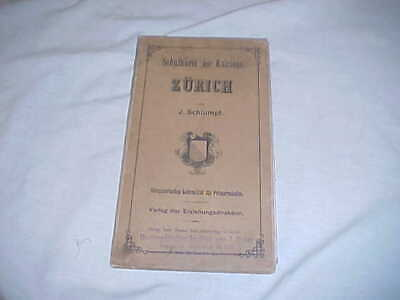 Antique Topographical Teaching Map Zurich Switzerland Paper w/Cloth Backing