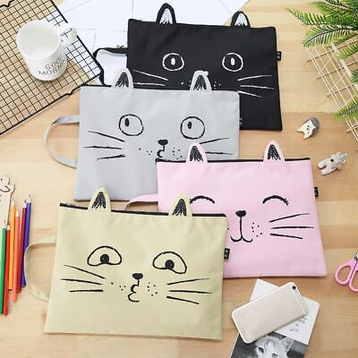 Lovely Cat Zipper Document Bag Briefcase Storage Papers File Folder Stationery