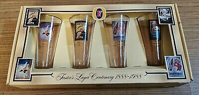 Fosters Lager Centenary 1888-1988 Glass cup Set Of 4