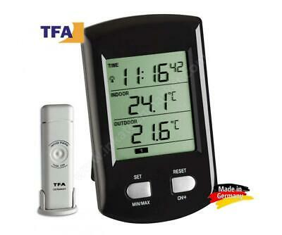 "TFA Dostmann 30.3034.01 ""Ratio"" / Thermomètre radio noir avec batteries"