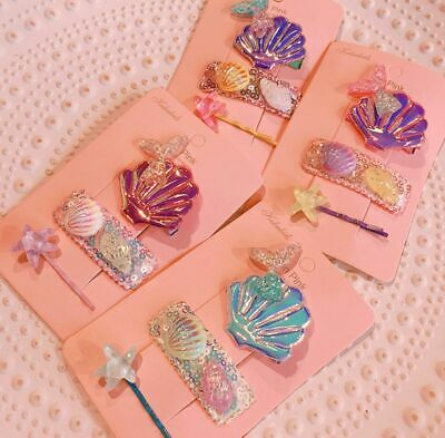 3Pcs Seashell Duckbill Hair Clip Baby Girl Hairpin Sweet Candy Colored Barrette