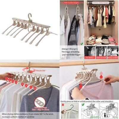 VS-Foru Space Saving 8 in 1 Folding Hangers-Adjustable Magic Clothes Beige