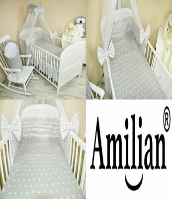 Amilian® 5-Piece Baby Bed Linen Set with Cot Bumper, Sheet Pillowcase...