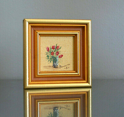 Scandinavian Impressionism Red Flowers Framed Signed Miniature Oil Painting vtg