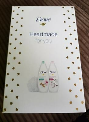 Dove gift set women Heartmade for you 2 x Body Wash 250ml and Shower Puff New