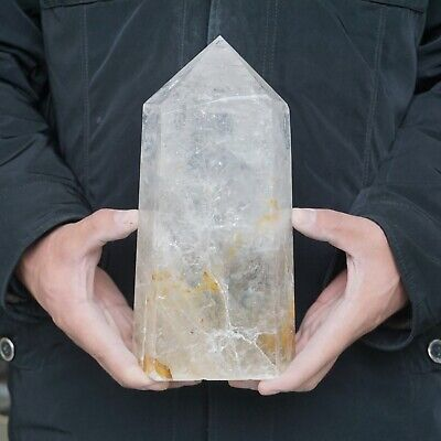 "8.2LB 9"" Natural Clear White Quartz Crystal Point Tower Polished Healing"