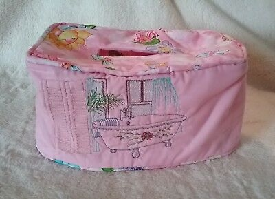 Kleenex Tissue Box Cover Hand made Pink Fabric Embroidered Bathroom Scene