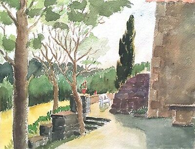 Vintage Original Landscape Study With Chair Watercolor Painting