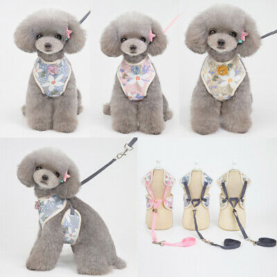 Adjustable Pet Dog Harness Collar Puppy Cat Vest Clothes Flower with Leash Rope