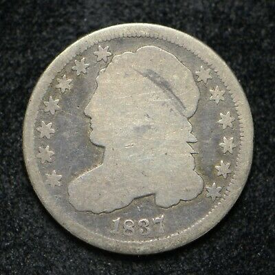 1837 Bust Silver Dime Coin has Scratches (bb2679)