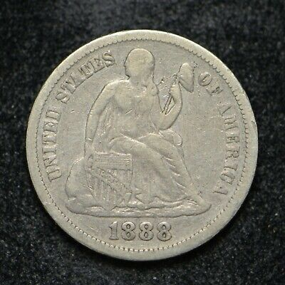 1888 Silver Dime Seated Liberty (bb2678)