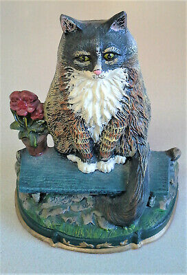 "Vintage Cat Flowers Bench Doorstop Cast Iron 8.5"" x 11"" -  5+ lbs"