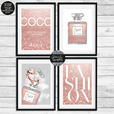 Fashion bottle Coco Chanel Quote pink/rose gold beauty room bedroom Art prints