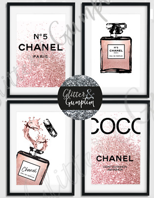 Fashion Bottle Coco Chanel Quote black/rose gold beauty room bedroom Art prints