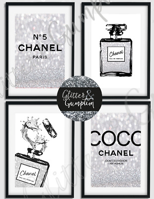 Fashion Bottle Coco Chanel Quote black silver beauty room bedroom Art prints