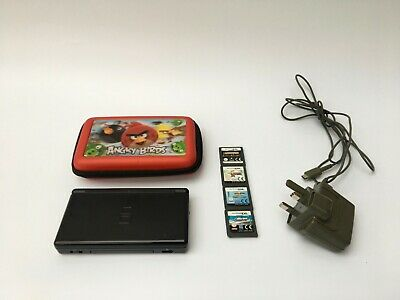Nintendo DS Lite Handheld System Gaming Console Black With Games Charger Bundle