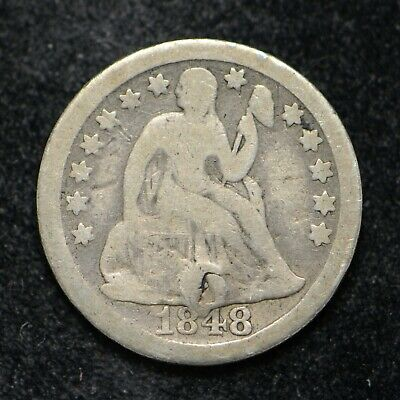 1848 Seated Liberty Silver Dime Damaged (bb2700)
