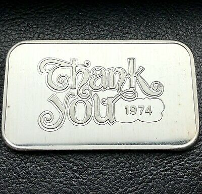 1974 Thank You 1 oz .999 Silver Art Bar Crabtree Mint Only 1,750 Minted (4469)