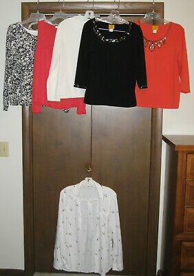 LOT OF 6 Womens LARGE TOPS ~ Old Navy, Ruby Rd., C, White Stag, J. Jill ~ Mint