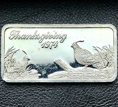 1974 Thanksgiving 1 oz .999 Fine Silver Art Bar Only 10,000 Minted (5596)