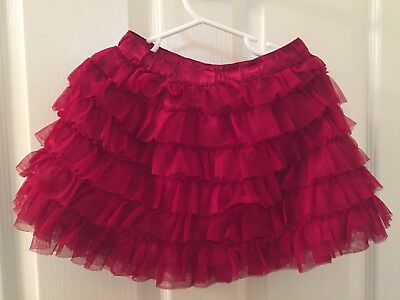 Baby Gap Girls Red Tiered Tulle Ruffle Satin Holiday Skirt babyGap Size 3T