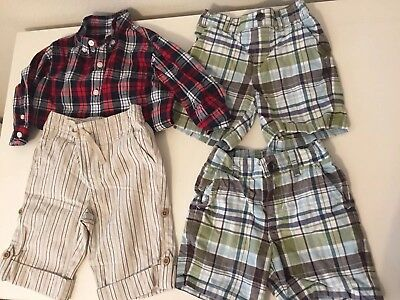 Janie and Jack Boys 4-Piece Lot Shorts Button Up Shirt Pants Size 6-12 Months