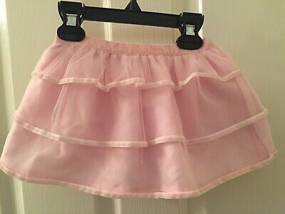 Janie and Jack Girls Morning Snow Pink Tulle Layered Skirt Size 3-6 Months