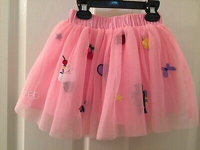 Hanna Andersson Pink Tulle Tutu Skirt Embroidered Designs Patches Sz 90 US 3 NWT