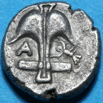 Ancient Greek Coin Silver Diobol-Thrace Apollonia Pontika 325-300 BC-Apollo Like