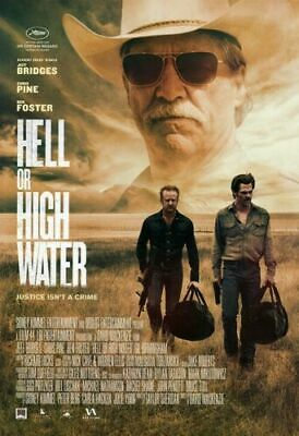 """Original """"HELL OR HIGH WATER"""" Movie Theater Poster ~ Jeff Bridges ~ 27 X 40"""