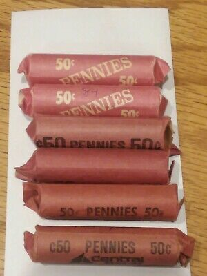 1984-P D  LINCOLN MEMORIAL CENT PENNY 50 COIN ROLL CIRCULATED  lot of 6 300 coin