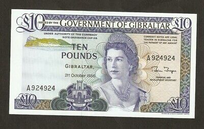 1986  Gibraltar £10 Pounds  ( Repeater Serial Number A924924  ) UNC#P22b