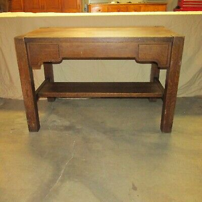 Antique Falcon Mission Arts & Crafts Oak Furniture Desk Computer Work Table