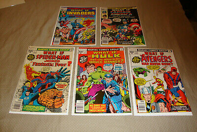 What If #1-5 (1977) Bronze Age Marvel Comic Lot Of 5 Spidey, Avengers VG- FN/VF