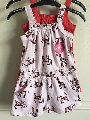 BNWOT Nutmeg Jump/ Play Suit x 2. Girls. Age 2 - 6 Years. Pink & Red. Cat