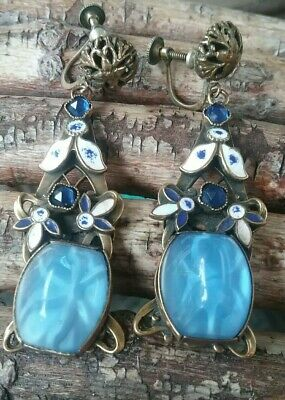 Antique Vintage Czech Blue Glass Drop/Dangle Enamel Screw On Earrings