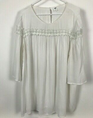 Womens Old Navy SIze 3XL Plus Size Soft Cotton Bell Sleeve Crochet Lace Keyhole