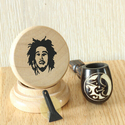 Lunar 2 Wood Pipe Carved Smoking Pipe Tobacco Tagua Pot & 2 pc herb grinder