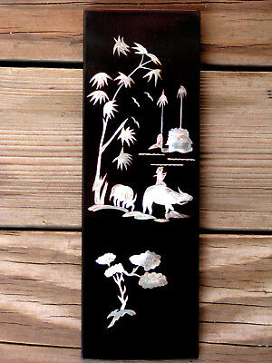 """BLACK LAQUER WALL ART ~ 11¾"""" Chinese / Asian Vtg Mother of Pearl Abalone Inlay"""