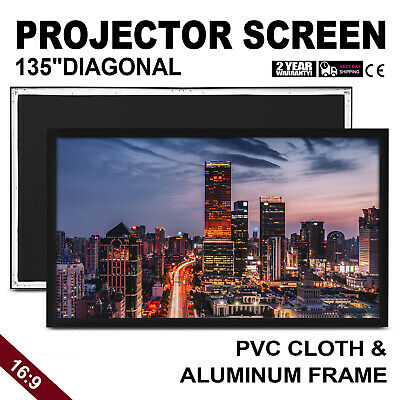 """135"""" Inch Projector Projection Screen 16:9 HD Aluminum Frame Premium White"""