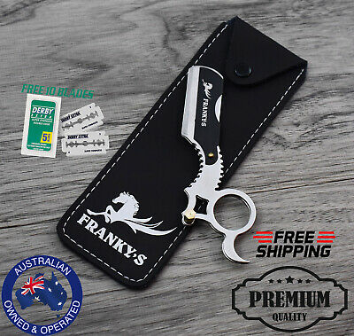 Barber Frankys Straight Edge Cut Throat Salon Shaving Razor Blade Razors