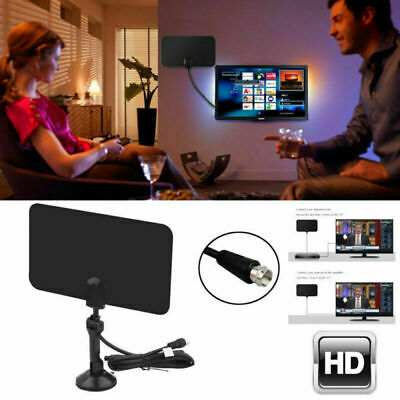 75 Mile Range Digital HDTV Indoor Thin Freeview Antenna with TV Aerial Amplifier