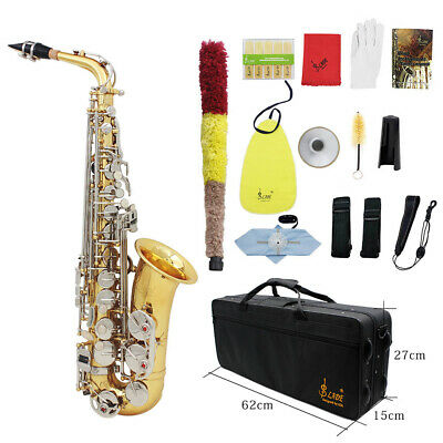 LADE Alto Saxophone Sax Glossy Brass Engraved Eb E-Flat with Mute Gloves O7Q4