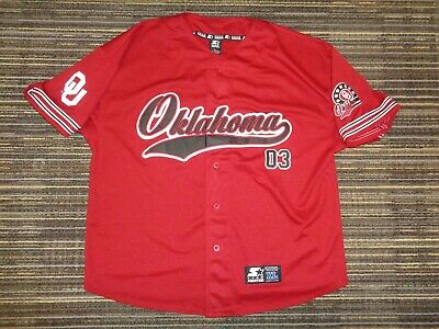 Sewn  Oklahoma Sooners #3 Starter Red Ncaa College Baseball Football Game Jersey